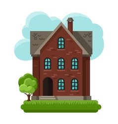 Old brick cottage on clouds vector