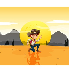 A boy with a hat at the desert vector