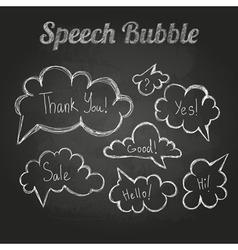 Chalk drawings set of speech bubble cloud vector