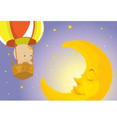 Baby visits moon vector
