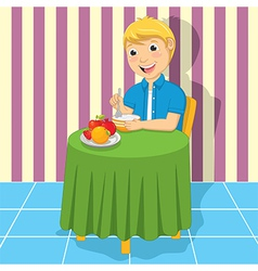 Little boy eating meal vector
