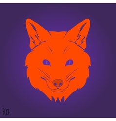 Face red fox silhouette vector