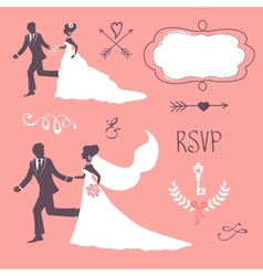 Set of elegant wedding couples in silhouette vector