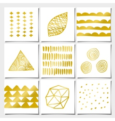 White and golden abstract geometric designs set vector