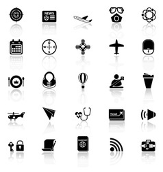 Air transport related icons with reflect on white vector