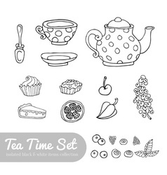 A set of party objects for tea time hand drawn vector