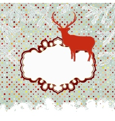 Template vintage with deer and snowflake eps 8 vector