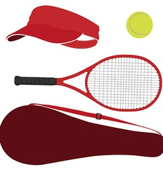 Tennis equipment red set vector