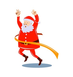 Father christmas santa claus running a race vector