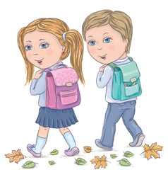 Children go to school vector