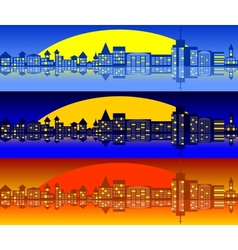 Landscape of city set vector