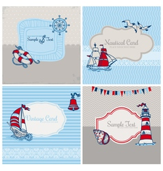 Set of nautical sea cards vector