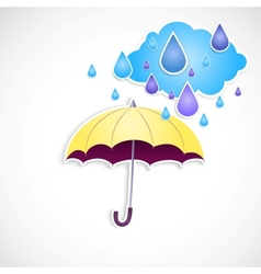 Yellow umbrella and rain isolated vector