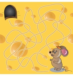 Maze or labyrinth game with funny mouse vector