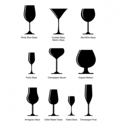 Silhouette alcoholic glass vector