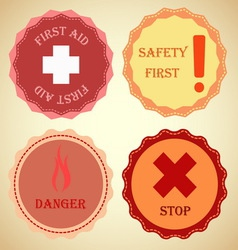 Retro badge collection of warning vector