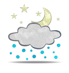 Climate cloud hail and moon vector