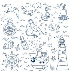 Nautical sea design elements vector