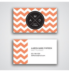 Business card template chevron vector