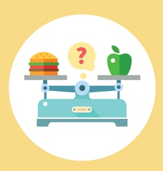 Apple and hamburger on scales vector