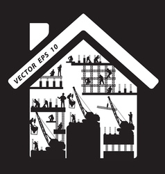 Home icon construction worker silhouette at work vector