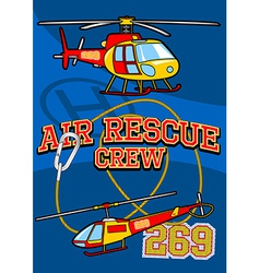 Air rescue with helicopters and equipment vector