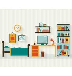 Room interior with furniture icon set vector