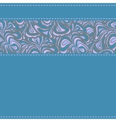 Blue textil with ornamental stripe vector