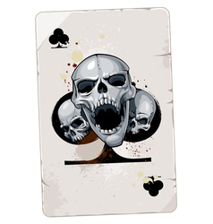 Poker card with skulls vector