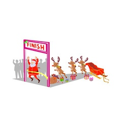 Santa claus finishing race with reindeers vector