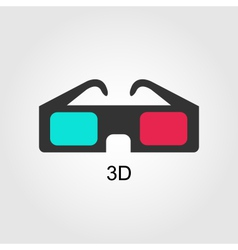 Modern 3d cinema glasses flat design vector