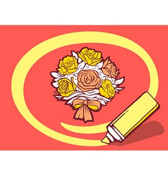 Marker drawing circle around bouquet of f vector