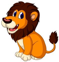 Cute lion cartoon sitting vector