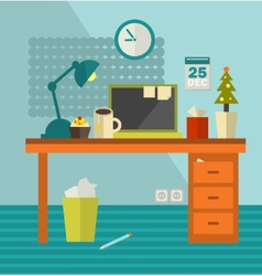 Work place of web designer on holiday vector