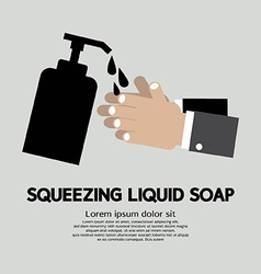 Squeezing liquid soap vector