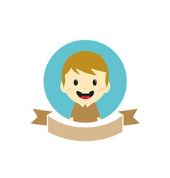 Adorable boy cartoon character label vector