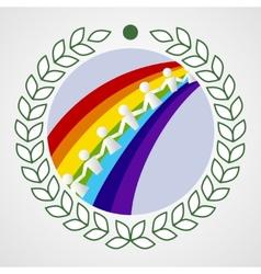 Kids on the rainbow vector