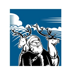 Father christmas santa claus with reindeer vector