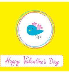 Cute blue bird happy valentines day vector