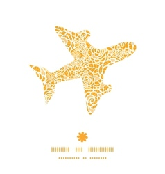 Golden lace roses airplane silhouette pattern vector