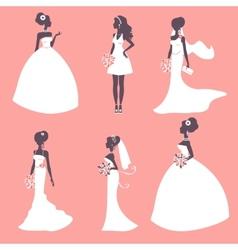Elegant brides in silhouette vector