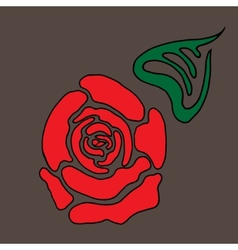 Red stylized rose with leaf vector