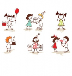 Children celebrate birthday vector