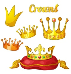 Set of royal gold crowns with gems isolated on vector