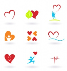 Cardiology and people icons vector