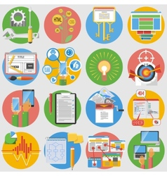 Seo icons set flat vector