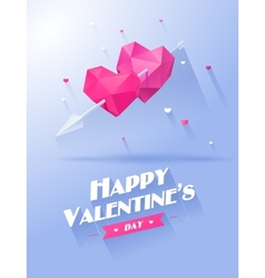 Valentines day two hearts pink and violet on white vector