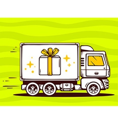 Truck free and fast delivering gift box t vector