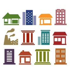 Colorful icons with urban architecture vector