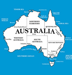 Map of australia with locations on a blue vector